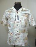 サンサーフ(SUNSURF) LANDofALOHAコットンリネン半袖オープンシャツ‐WHITE