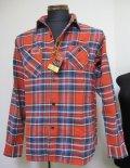 キャッツポウ(CAT'S PAW)チェック長袖ワークシャツ・ネルシャツCP27057 -165RED