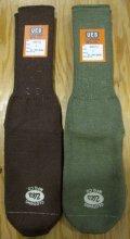 ウエス(UES)ムラ糸3本撚りソックス ベーシックカラー-ブラウン・オリーブ