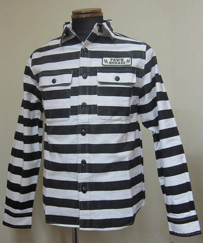 画像1: PAWN(パウン)PRISONER SHIRTSボーダーシャツ-Black【送料無料】